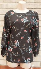 PEACOCKS DIRTY BROWN RED BLUE FLORAL LONG SLEEVE BLOUSE TUNIC TOP T SHIRT 18