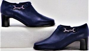 AJ VALENCI BUILT FOR COMFORT size 6M blue mid-heel ankle booties leather uppers