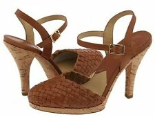 Ladies MICHAEL KORS Shoes Platform Cork Heels SIZE 10 LUGGAGE BROWN Leather NEW