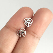 Real 925 Sterling Silver Cartilage Earring Stud Tree of Life Heart for Women
