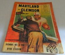 Vintage October 4, 1958 FOOTBALL PROGRAM - MARYLAND vs CLEMSON Byrd Stadium