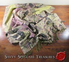 Jones New York Fringed Lavender Green Gold Black Paisley Shawl Scarf