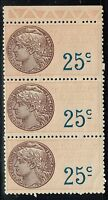 France 25 Cent Strip of 3 -  Revenue Stamp Mint Never Hinged - Lot 10415