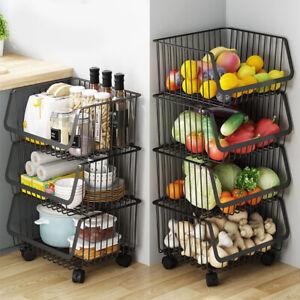 2 Tier Bamboo Vegetable Fruit Basket Holder Kitchen Storage Container Rack UK