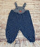 Oshkosh Baby Bgosh Blue Plaid Overalls Cherry Accents Toddler One Piece sz 18M
