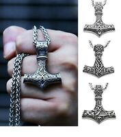Heavy Viking Thor's Hammer Men's Mens Long Silver 316L Stainless Steel Necklace
