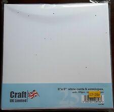 """Craft UK Ltd - Pack of 25 White 8"""" x 8"""" Cards & Envelopes - Straight Edge"""