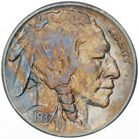 1937-S BUFFALO NICKEL UNC GEM BU LIGHT BLUE COLOR TONED CHOICE LUSTER (DR)