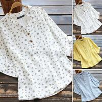 Women Short Sleeve V Neck Baggy Tops Shirt Floral Print T-Shirt Blouse Tee S-5XL