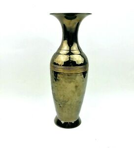 """Vase Two Toned Solid Brass Hammered Smooth patenia 9"""" Tall Accent Decor India"""