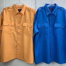 John Blair Mens Linen Look Pilot Shirts Size 2XL Short Sleeve Marine Yellow