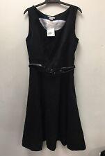 H & M Black Shift Dress with belt Size 8 RRP £24.99 BNWT zipped pocket