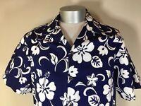 RJC Hawaiian Shirt Mens XL Blue White Floral Aloha Retro Hawaii USA Made