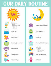 A5 Print - Children's Daily Routine Reward Chart includes Smiley Face Stickers