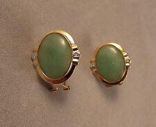14k yellow gold green jadeite and diamond earrings omega back jade