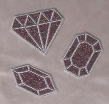 Embroidered Glitter Sparkle 3-Pc Set Silver Diamond Gems Applique Patch Iron On
