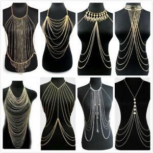 Women Bra Waist Belly Crossover Body Chain Harness Tassel Necklace