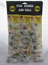 Five Stones Jacks & Ball Game Vintage Toy Shop Display 24 packs Nostalgic Retro