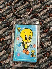 """Vtg 1997 Tweety Bird Hippie Keychain Flowers/Peace Sign. 2.5""""X1.5"""""""