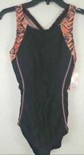 Beautyin Womens Sz S-XL Athletic One Piece Swimsuit Black/Orange NWT Racerback