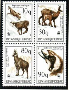 Albania 1990 set Bocks/Chamois/WWF stamps (Michel 2423/26) MNH