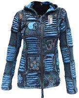 Cotton Blue Jacket Hippie Psychedelic Goth Emo Funky Patchwork Pixie Zip Hoodie