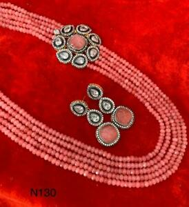 Indian Bollywood High Quality Pink Mala Necklace Earrings Fashion CZ Jewelry Set