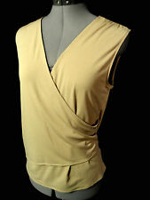 GEORGE Sexy Wrap Top M 8-10 Khaki Beige V-neck Ruched side Sleeveless blouse Hot
