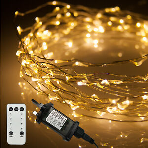 Christmas Lights, 200 Warm White Fairy Lights Remote C String Lights, Thin Wire
