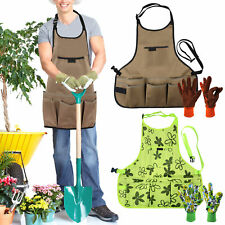 More details for garden work apron for men women oxford cloth adjustable with tool pockets gloves