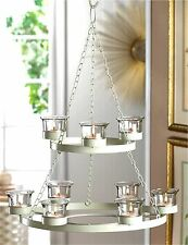 WHITE TREE 2-TIER 9 CANDLE CUP IRON & GLASS CHANDELIER & CHAIN ** NIB