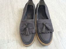 Russell&bromley grey nubuck leather 37/4 fringe loafers
