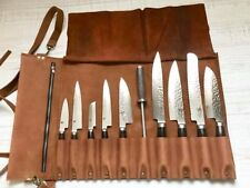 Chefs Knife Roll Bag, Pure Leather, Knife Carry Case Wallet 10 Pockets,tan color