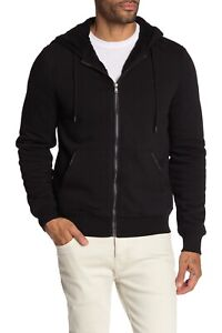 New Michael Kors Faux Shearling Lined Hoodie Black Men's Size Small-Medium
