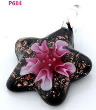 1pc novel star flower art lampwork art glass beaded pendant necklace p684