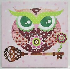 New Square Canvas Owl Wall Print Pink Tones with Diamontes Great for a Nursery