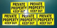 "''Private Property Keep Out'' 10"" x 7"" Yellow Signs, Metal 5 Set"