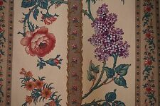 SCHUMACHER Fabric Floral Stripe Butterscotch Ground Lilacs Roses 2 5/8 yards