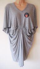 Womens Numph Drape Dress Size S New Ladies Grey l/weight Jersey Batwing Sleeve