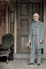 Large Confederate Gen Robert E Lee US Civil War Photo Painting Canvas Art Print
