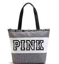 Victoria's Secret PINK Grey Shoulder Canvas Bag Tote School Holiday Gym Shopping