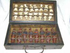 Armée chinoise style 32 Pieces Chess Set en cuir boîte en bois Board & Jeu Traditionnel