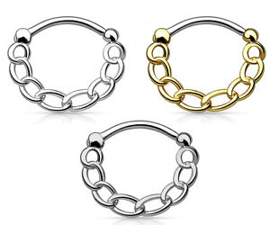 1pc Chain Round Septum Clicker 16g Pierced Nose Ring IP 316L Surgical Steel