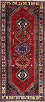 One-of-a-Kind Vintage Tribal Abadeh Oreintal Hand-Knotted4x8 Red Wool Runner Rug