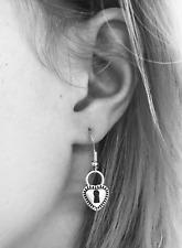 Gorgeous Silver Heart Lock Earrings on 14K White Gold Filled French Hooks