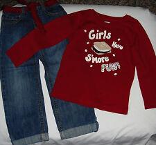 Gymboree Alpine Sweetie sequin Girls Have S'more Fun top & jeans belt set 4 4T