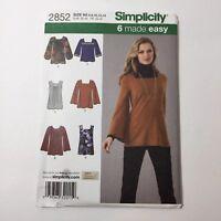 Simplicity 2852 Size 6-14 Misses Knit Tunics Tops