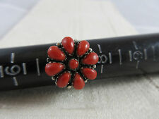 ERIACHO Zuni Petit Point Cluster Flower-Coral/ Sterling Silver Ring-Sz 7.25-Sign