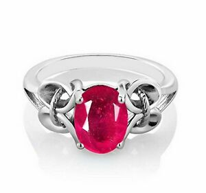 14KT White Gold & 1.60Ct Oval Shape Natural Burmese Red Ruby Solitaire Ring
