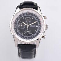 NEW 46mm Corgeut black Quartz Mens Watch Sports Watch FULL Chronograph Leathe